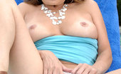 Anilos Rebecca Bardoux Anilos housewife moistens her glass toy and fucks her pink pussy outdoors