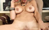 Anilos Persia Tempting secretary gets naked and plunges the rabbit in her mature pussy in the office