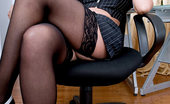 Anilos Diana Beautiful mature cougar Diana plays with her pussy while taking a phone call in her office