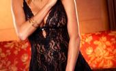 Twistys Hanna Hilton Hanna strip teases with her sexy black dress.