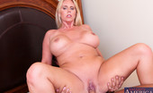 Naughty America Karen Fisher Big tit MILF Karen Fisher loves riding a hard young cock.