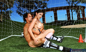 Naughty America Franchezca Valentina Hot brunette practices her soccer moves before fucking a cock on the field