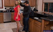 Naughty America Tanya Tate Busty blonde cougar fucks worker in the kitchen.
