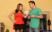 Naughty America Ava Devine Busty cougar Ava Devine keeps one younger guy around so she can fuck him and get her fix.