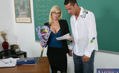 Naughty America Holly Sampson Holly Sampson gets flowers and a card from a student so she fucks him in her classroom.