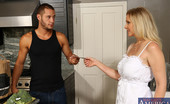 Naughty America Julia Ann 33796 Julia Ann really appreciates her grocery delivery man. He's always spot on and never forgets a thing. In order to thank him, Julia decides to give him a special tip by sticking his tip in her mouth. She has him bang her all over the kitchen counter. This