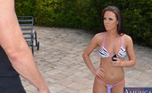 Naughty America Rahyndee James 33849 Rahyndee is out relaxing at at the pool of her friend's house when her friend's brother comes over. He knows the two are always up to no good and finds out that his sister is still sleeping at 2:00 in the afternoon. Rahyndee says they just had a