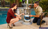 Naughty America Christine Paradise Christine Paradise calls over the maintenance man because she can't get the outdoor heater going. She just can't seem to find the plug anywhere. Her husband usually turns it on for her but he's out of town. When the maintenance guy arrives
