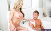 Naughty America Sindy Lange Sindy Lange desperatley needs to shower, but her son's friend is hogging up the bathroom. What's a girl to do? She walks in on him and starts showering with him in the bathroom. He is super upset about the situation at first, but his anger subsi