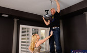 Naughty America AJ Applegate AJ calls Derrick to help her install her projector in her house because she just can't seem to understand the instructions. Derrick comes over, gets up on her furniture to install the projector and he happens to have his junk right in AJ's face.