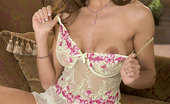 Penthouse Taya Parker Taya Parker in creamy babydoll posing outdoors