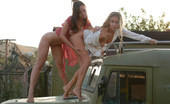 Met Art Ksena A & Mira A Swap by Goncharov Beautiful twosome swaps affections on the roadside in this outdoor shoot.