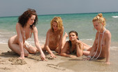 Met Art Adriana E & Milana B & Uma B & Yara A Mar Nero by Goncharov Four girls play on the beach and let the ocean caress their wonderful nakedness.