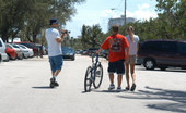 MILF Hunter Skinny young mom gets help with her bike then helps smoke some pole