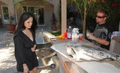 MILF Hunter Hot brunette milf evie poses for a painting by the pool but gets her box rammed by the painter 3 minute video and pics