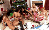 Audrey Bitoni Alexis Texas and gang enjoy sharing their Christmas dildos