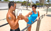 8th Street Latinas abby Hot ass booty shorts latina running on the beach gets picked up after her jog then penetrated hard and cumfaced in these hot amateur beach side fuck pics and movie