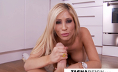 Tasha Reign masturbates and gives a footjob and handjob