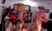 Dancing Bear Blonde gets a facial in front of her friends!