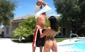 Round And Brown stacy Banging black babe in bikini gets some cock by the pool