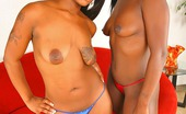 Round And Brown mocca Amazing brown skin mocca and her gf take on a hard cock in these double sucking and 3some poolside fucking pics and video