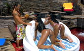 Round And Brown cocco Watch 2 smoking hot ass brown skin babes share a hard cock by the pool in these hot wet fucking double cumshot pics
