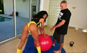Round And Brown joy Amazing super hot ebony work out babe get drilled hard on her work out ball in this super hot power fuck pic set