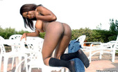 Big Naturals audre Big tit ebony babe in fuck me boots posing outdoors