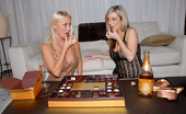 We Live Together  Super hot big tits molly and platinum blonde babe jenny share a hard dildo fuck in these hot new years eve sparkly fucking lesbo pics