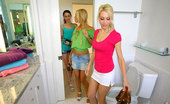 We Live Together georgia 3 amazing hot super hot ass little teen little hot titty babes get finger fucked hard aftter stripping and licking eachother in these hot sauna bathroom fucking lesbian 3some teen pics