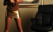 Janessa Brazil Hot Babe wearing Tight Shiny Mini Skirt