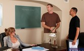 My First Sex Teacher Darla Crane Busty redhead teacher Darla Crane has hot sex on her desk with one of her students.