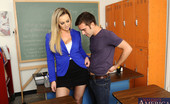 My First Sex Teacher Abbey Brooks Gorgeous blonde teacher Abbey Brooks decides to fuck her student in her classroom.