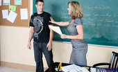 My First Sex Teacher Brandi Love Professor Brandi Love is excited because her student aced his latest exam. She'd been tutoring him for some time, but the young man doesn't appreciate her help. So the professor demands a little credit ... then a little extra credit, splashed across her f