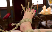 80140 Foot Worship Aiden Starr ties & tortures her foot slavegirls toes & feet, makes her worship and clean hers and inserts hers into both her slaves holes to orgasm!