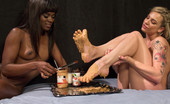 80187 Foot Worship Foot sploshing with peanut butter, jelly and honey, lesbian foot worship, toe sucking, lesbian footing. Ana Foxxx cums all over Dahlia Sky's feet!