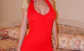 Diamond Foxxx strips a red dress and fucks toys