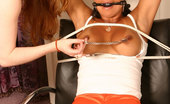Mariah Milano Tied up and strapon fucked Busty Brunette Hooters Girl Tied Up Gagged And Strapon Fucked!