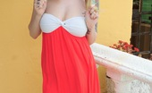 Ivy Snow Spends Her Afternoon Outside With Her Blue Vibrator In Her Strapless Dress
