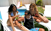 Mike In Brazil milene Hot brazilan milene gets her ass oiled up for these hot poolside threesome pics