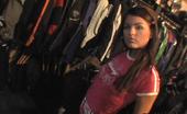 Public Invasion Hot chick in the biker shop