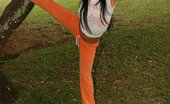 Gigi Spice Takes Some Fun Candid Photos At The Park In Her Orange Outfit