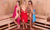 Hot And Mean Jenni Lee and Juelz Ventura and Anikka Albrite Hot Sauna Pussy  Anikka was trying to enjoy a relaxing sauna when Juelz and Jenni come in and start making out and ru...