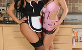 Linsey Dawn McKenzie Linsey And Dani Kitchen Sluts Horny Houeswife Has Some Lesbian Fun With Her Curvy Maid Dani, Then They Both Enjoy A Huge Red Dildo Together!