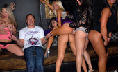 In The VIP laryne Amazing mini skirt club babe laryne and her girls share a cock in the champagne room in thes amazing club pics