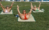 MILF Next Door chrystina These 3 milfs are stretchin out doin some yoga and gettin freaky