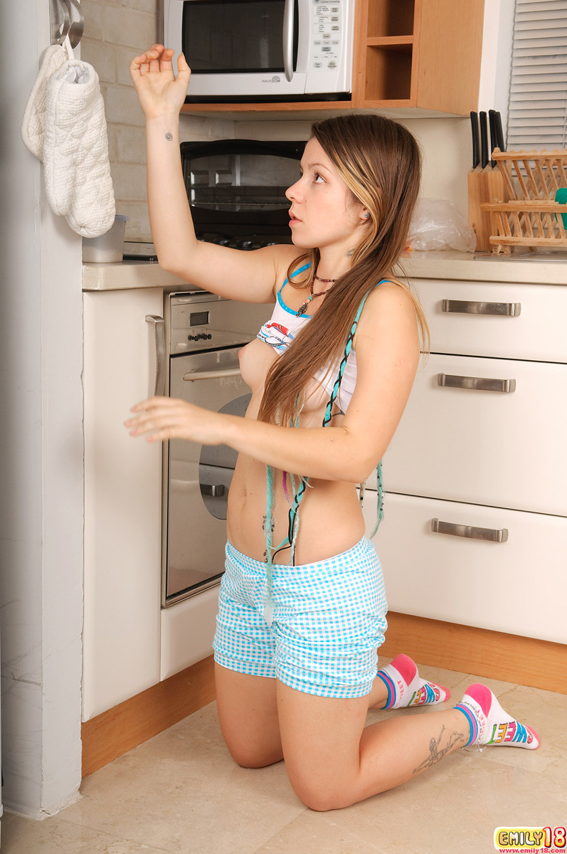 Jesse Models White Panty In Kitchen