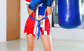Emily 18 Boxing Babe 18 105065 The Boxing Gloves, The Robe, And The Cute Shorts Are All Part Of The Fun In The 18 Gallery. So Is The Striptease, Which Brings Out Her Naked Young Body.