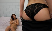 Strapon Lesbians Asian lesbian with a strapon in bed for sex