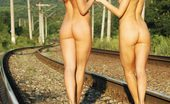 Amour Angels Sofia And Sabrina RAILWAY Horny blond and splendid brunette wonder through railroad fully nude and entertain each other.